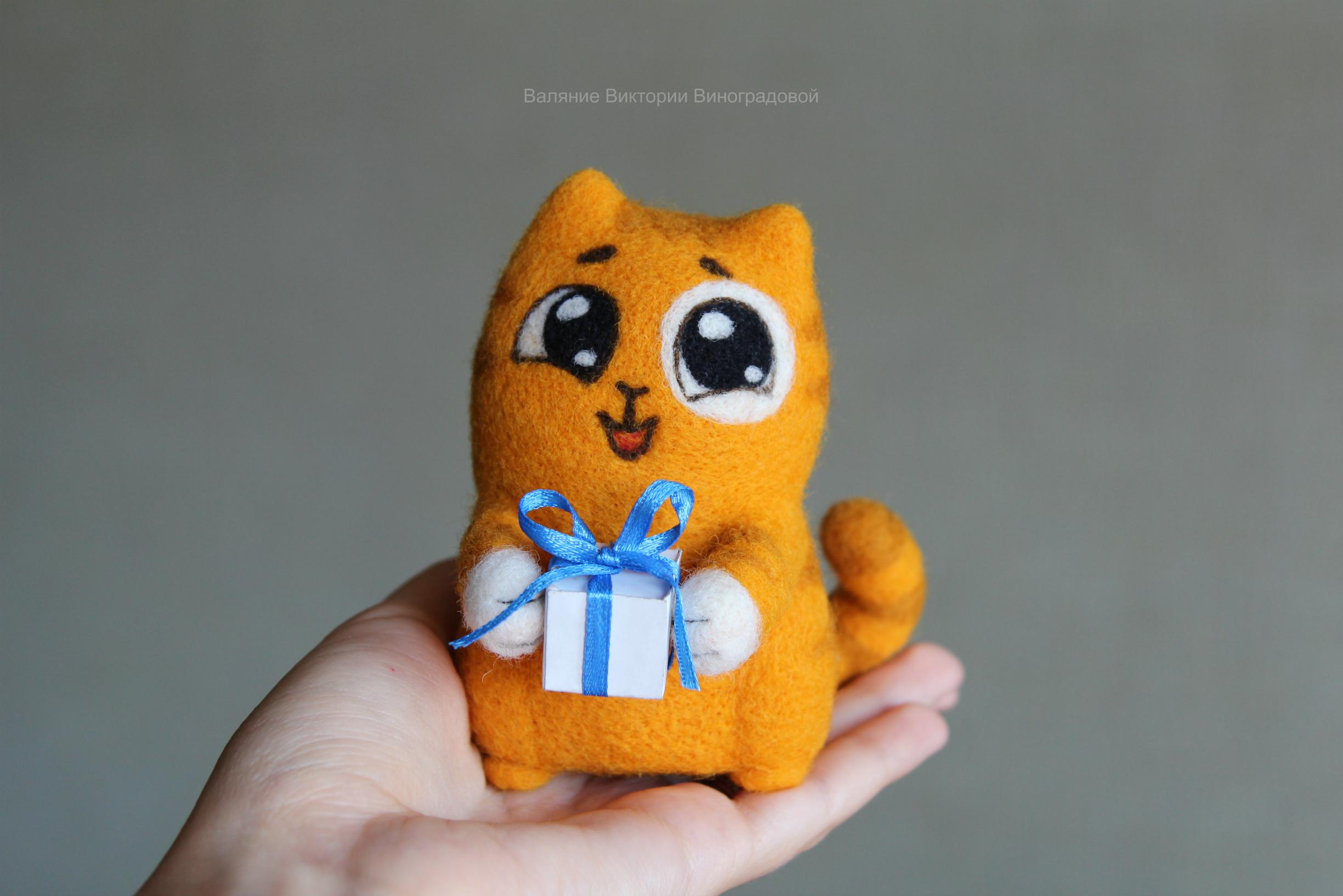 кот Персик с подарком