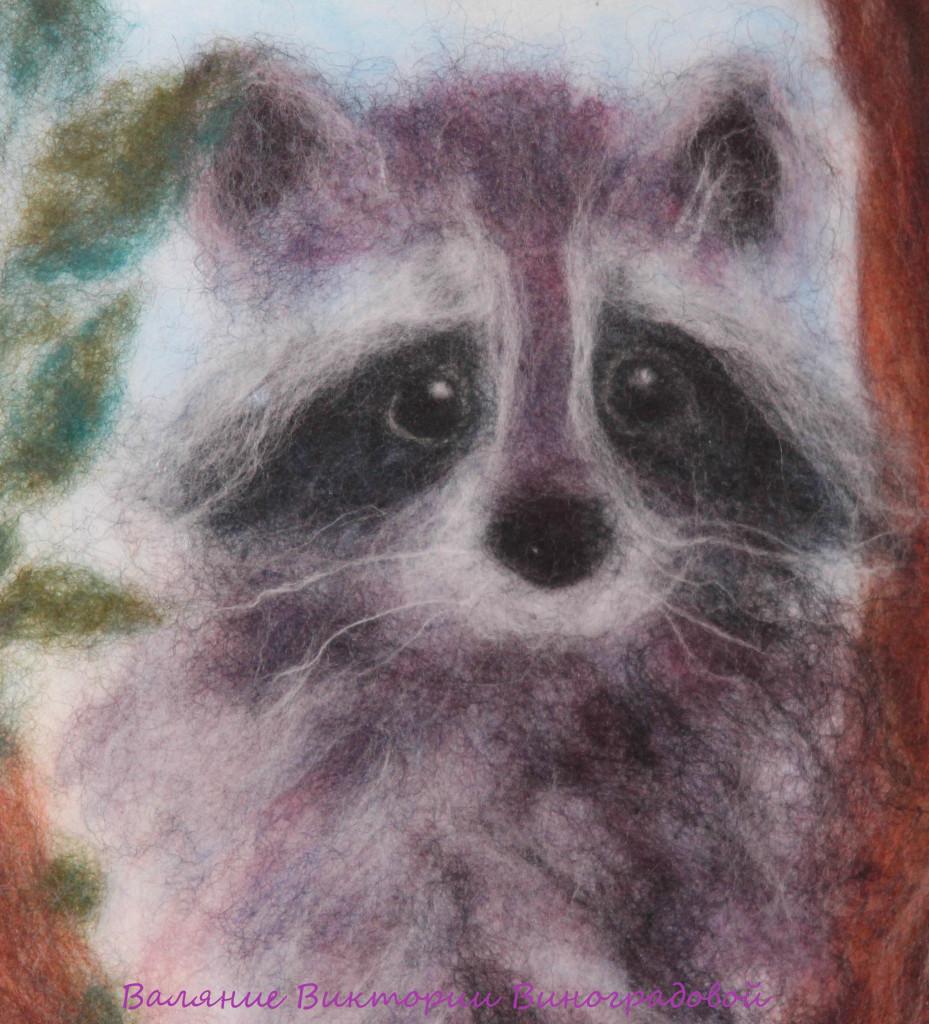 картина из шерсти енотик