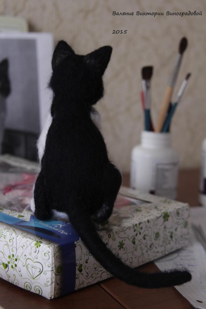 Сухое валяние. Кошка из шерсти