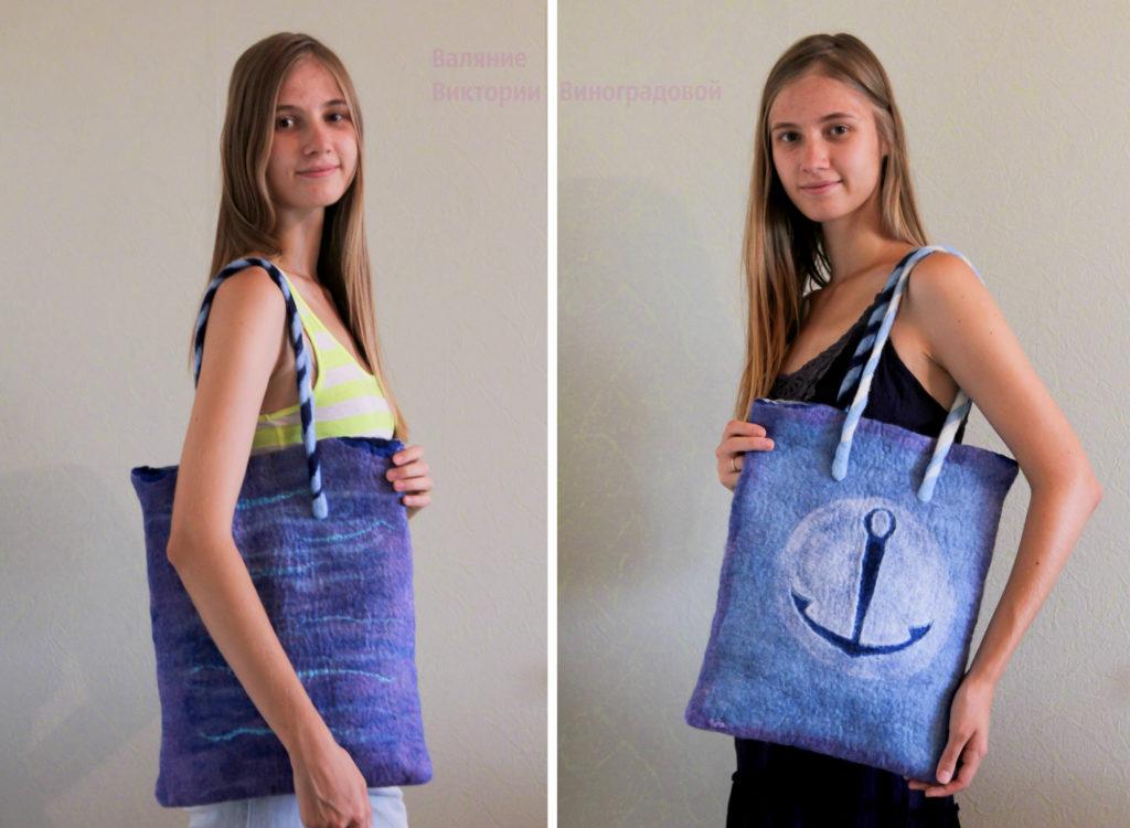 Летняя войлочная сумка. Морская тематика
