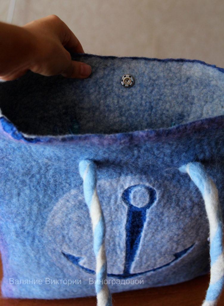 Сумка из шерсти. Летняя войлочная сумка морской тематики.