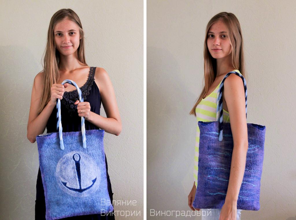 Фото войлочная сумка. Сумка из шерсти летняя, морская тематика