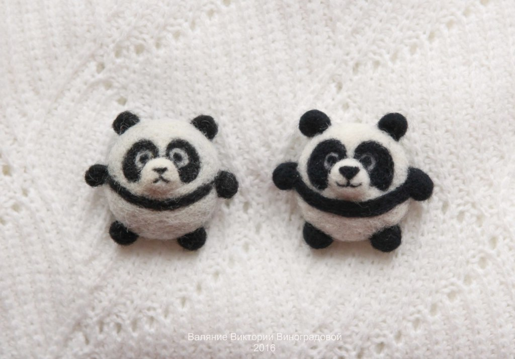 панды брошки