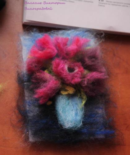 картины из шерсти. цветы