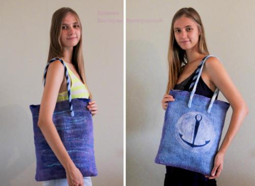 Вместительная сумка из шерсти. Морская тематика