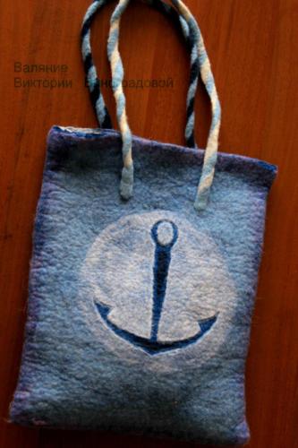 Валяная сумка из шерсти. Морская тематика