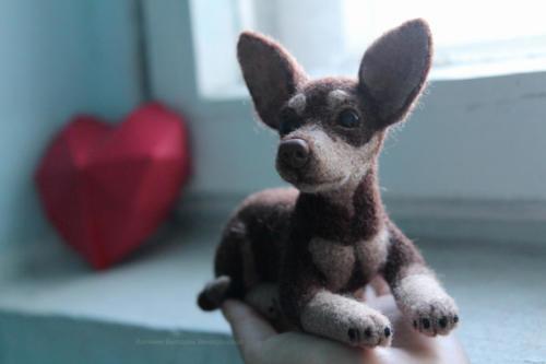 собака игрушка из шерсти
